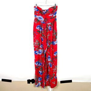 Band of Gypsies Red Floral Strapless Jumpsuit